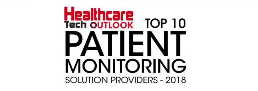 A logo which states: Healthcare Tech Outlook Top 10 Patient Monitoring Solution Providers- 2018