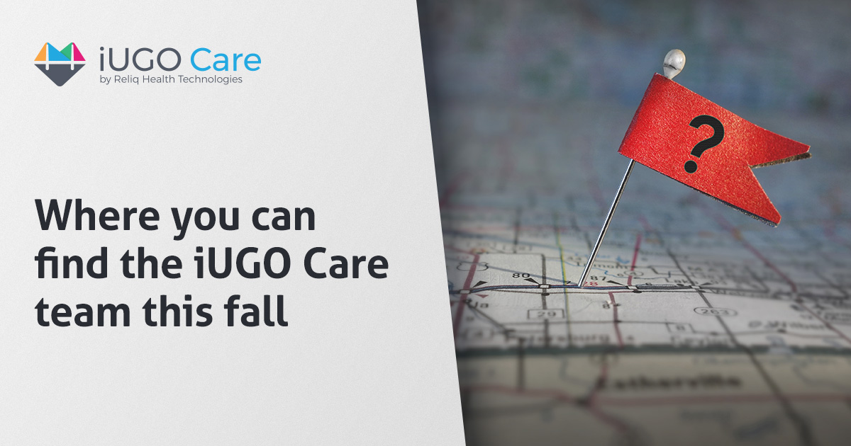 A segment which states: Where you can find the iUGO Care team this fall. It is accompanied by a red flag with a question mark pinned onto a map.